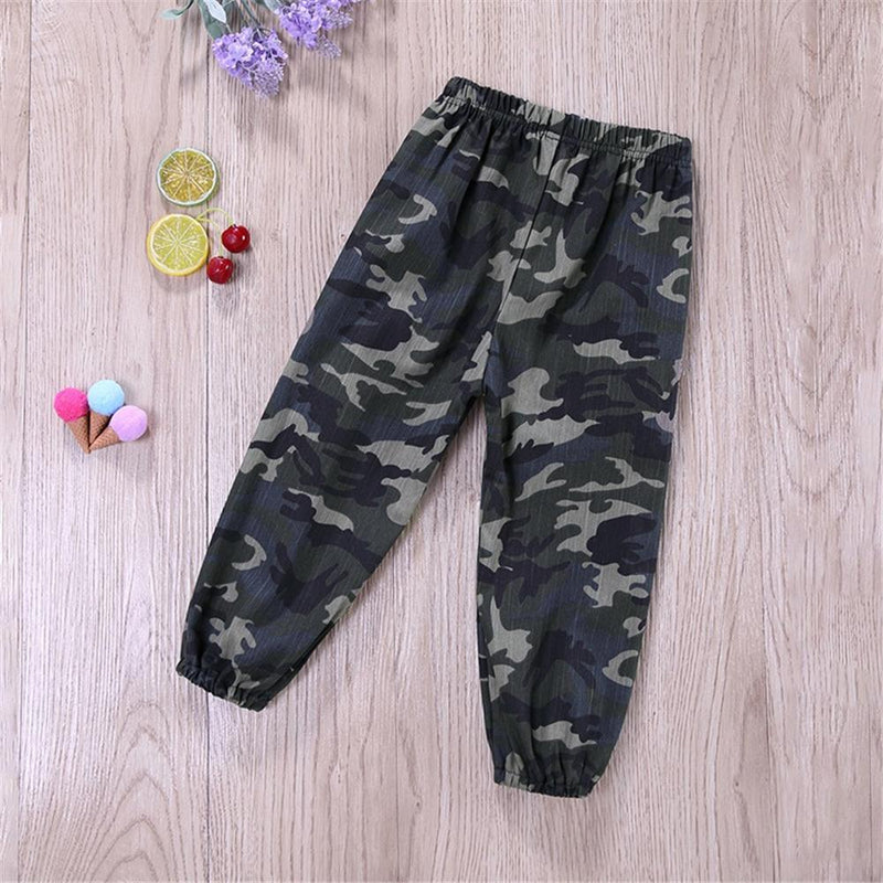 Toddler Boys Letter Long Sleeve Top & Camo Pants Wholesale Boys Suits