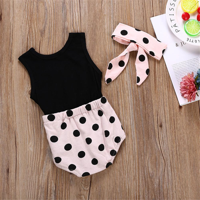 Baby Girls Letter Polka Dot Princess Splicing Sleeveless Romper & Headband Wholesale Baby Store - PrettyKid