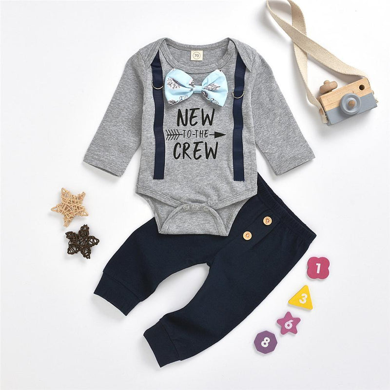 Baby Boys Letter Print Casual Romper & Pants Baby Boutique Clothing Wholesale