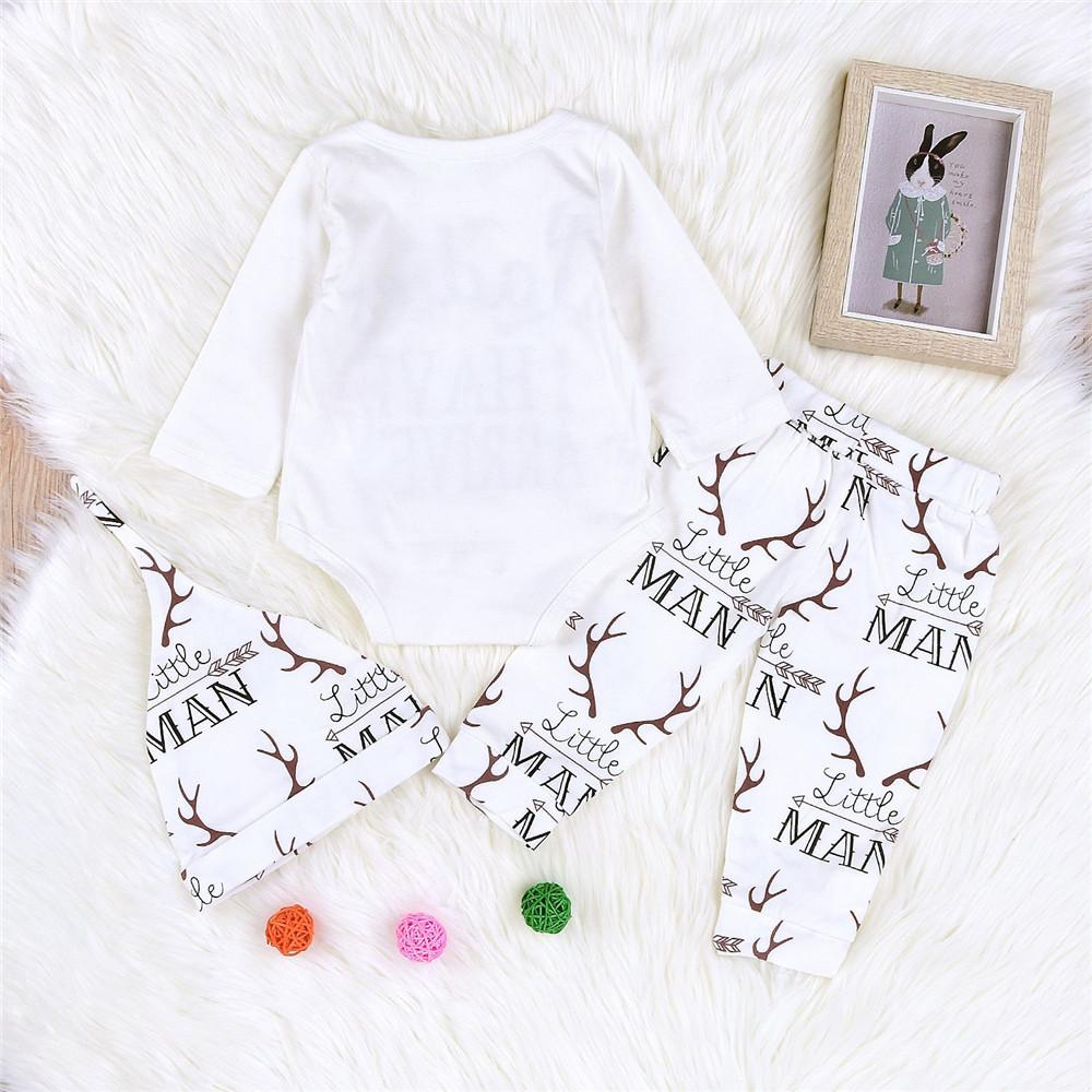 Baby Letter Printed Autumn Romper & Antler Printed Pants & Hat