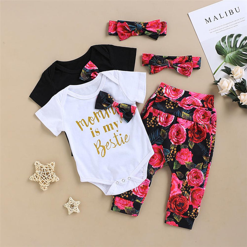Baby Girls Letter Printed Floral Bow Short Sleeve Romper & Pants & Headband Baby clothes Cheap Wholesale