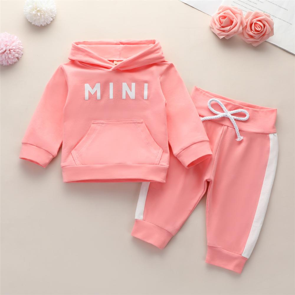 Baby Girls Letter Printed Long Sleeve Hooded Tracksuit Baby Clothes Suppliers - PrettyKid