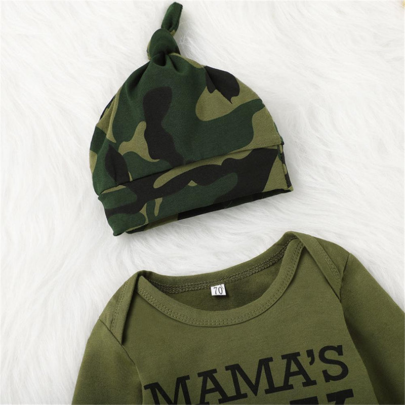 Baby Boys Letter Printed Long Sleeve Romper & Camo Pants & Hat Baby Wholesale