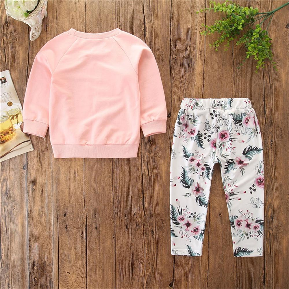 Baby Girls Letter Printed Long Sleeve T-shirt & Trousers Wholesale Infant Clothing - PrettyKid