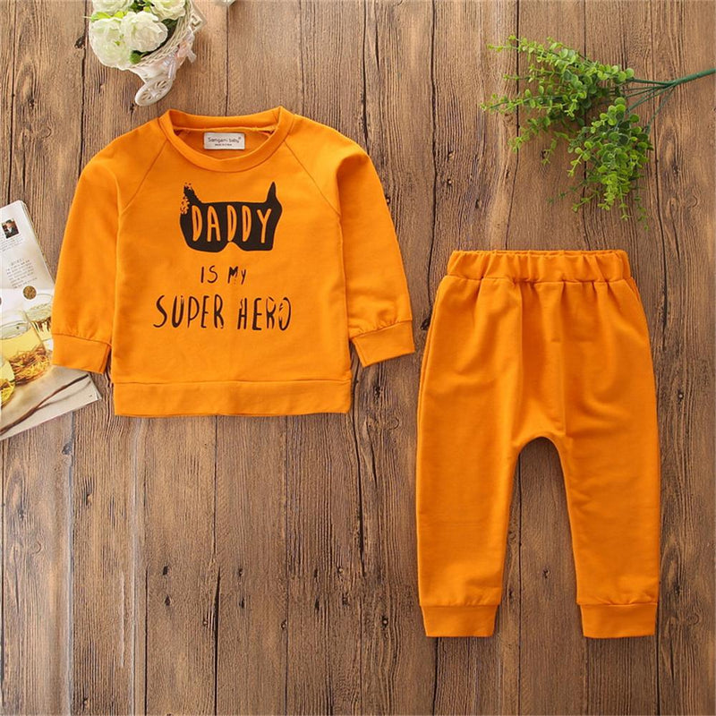 Baby Girls Letter Printed Long Sleeve T-shirt & Trousers Wholesale Infant Clothing