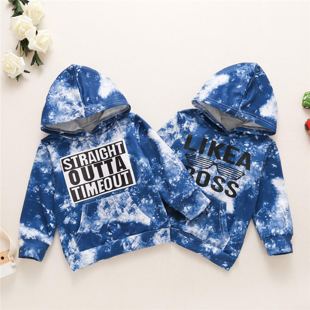 Unisex Letter Printed Long Sleeve Tie Dye Hooded Top Wholesale Toddler T Shirts