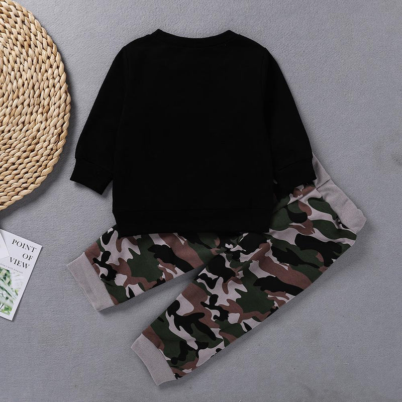 Baby Boys Letter Printed Long Sleeve Top & Camo Pants Boys Wholesale