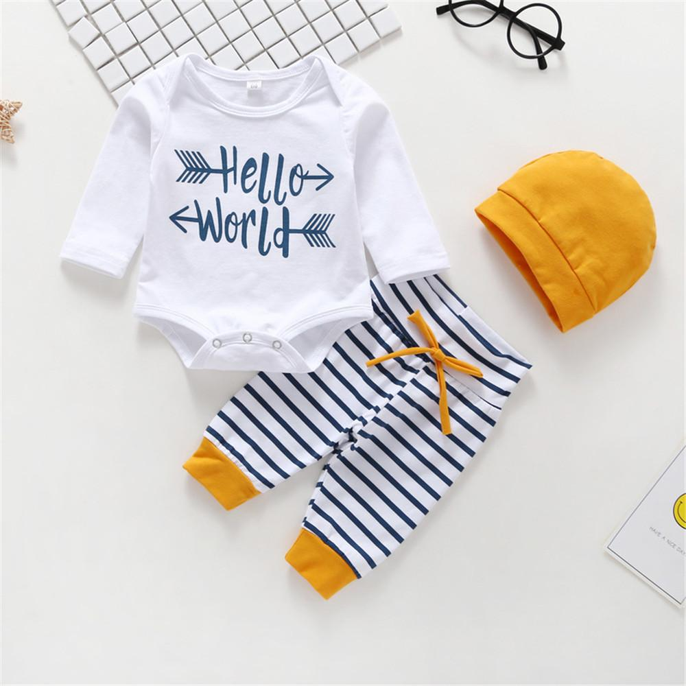 Baby Boys Letter Printed Rompers & Striped Pants & Hat - PrettyKid