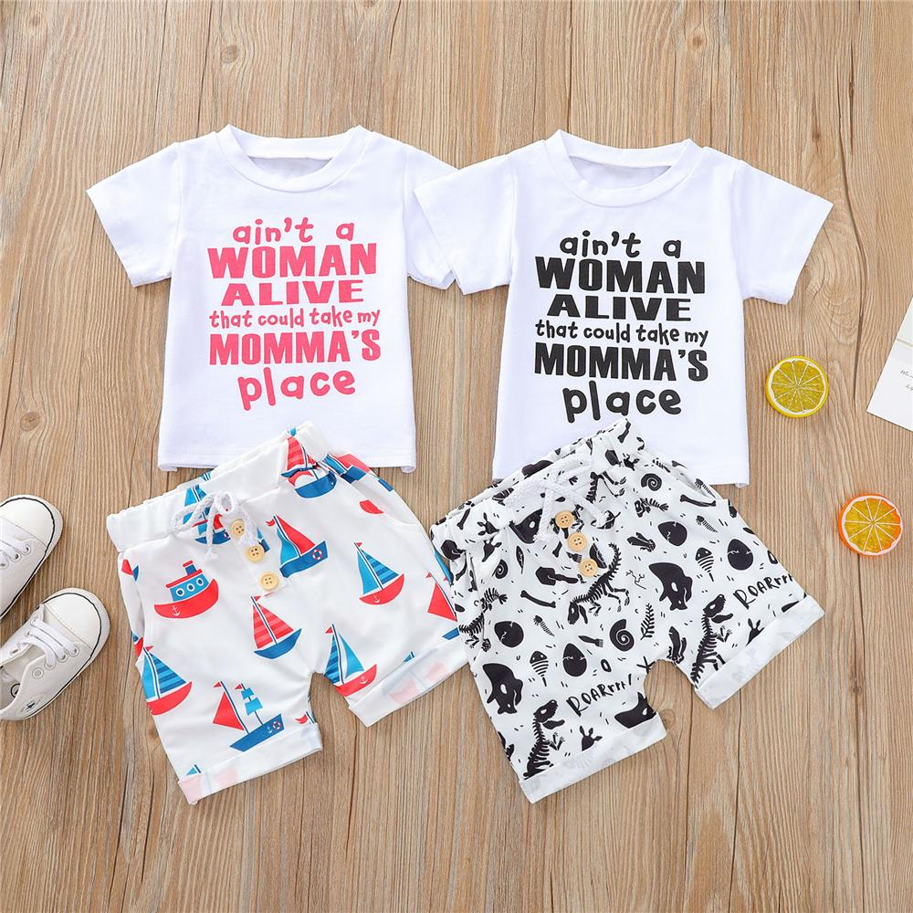 Baby Boys Letter Printed Short Sleeve Cartoon Printed Top & Shorts best children's wholesale clothing - PrettyKid