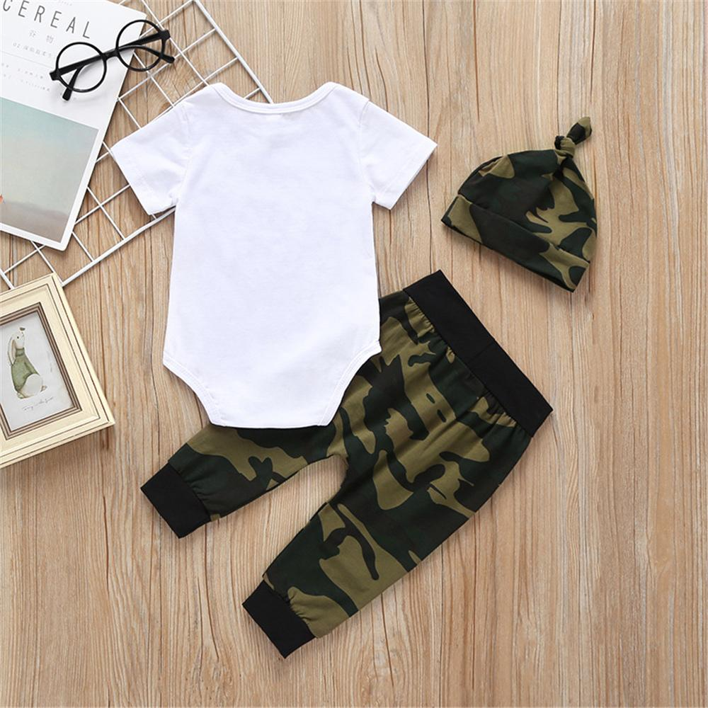 Baby Boys Letter Printed Short Sleeve Romper & Camo Pants & Hat Baby wear Wholesale - PrettyKid