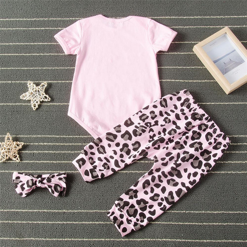 Baby Girls Letter Printed Short Sleeve Romper & Leopard Pants Baby clothing Cheap Wholesale - PrettyKid