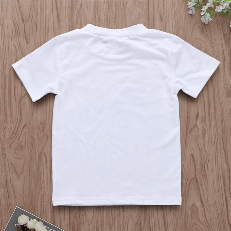 Unisex Letter Printed Short Sleeve Summer Top Kids Wholesale Clothing