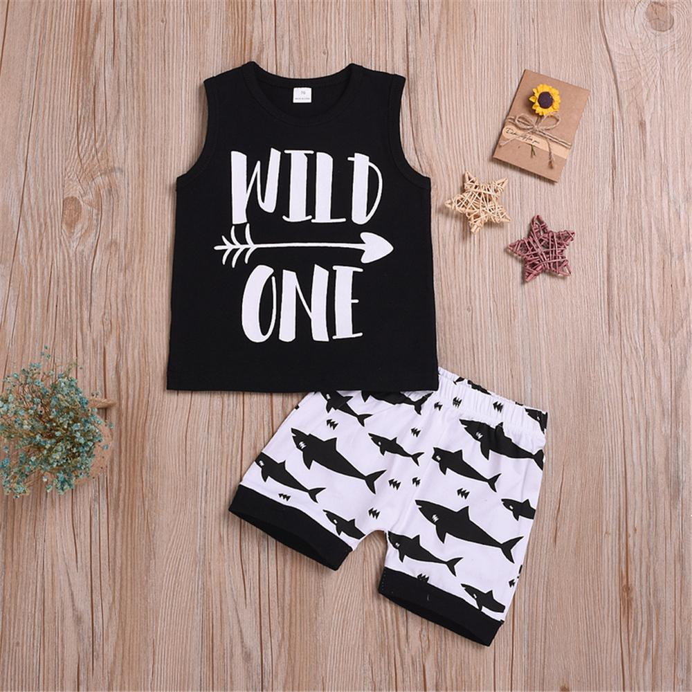 Baby Boy Letter Printed Sleeveless Top & Cartoon Shorts Baby clothing Wholesale vendors - PrettyKid