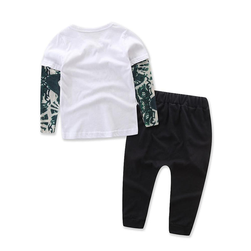 Baby Boys Letter Printed Splicing Tops & Pants Wholesale