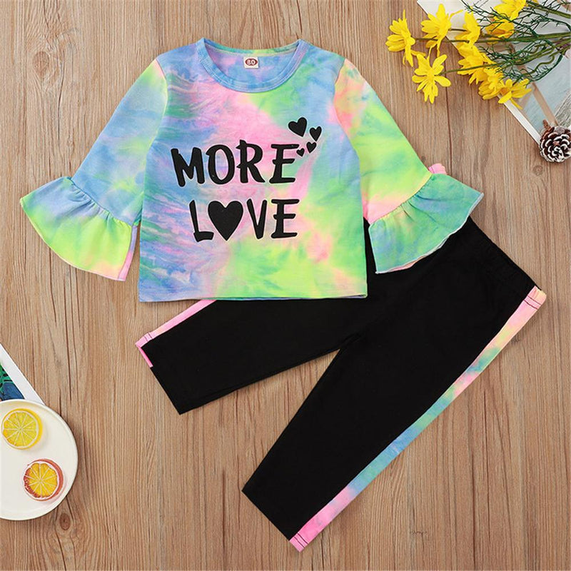 Baby Girls Letter Printed Tie Dye Top & Pants Wholesale Baby Items