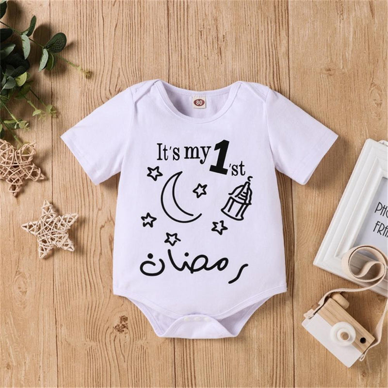Baby Letter Star Letter Printed Short Sleeve Romper wholesale applique children's clothing - PrettyKid