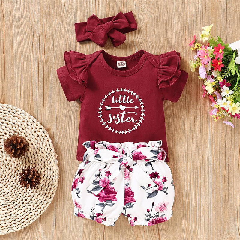 Baby Little Sister Short Sleeve Romper & Floral Short & Headband Baby Ruffle Rompers Wholesale