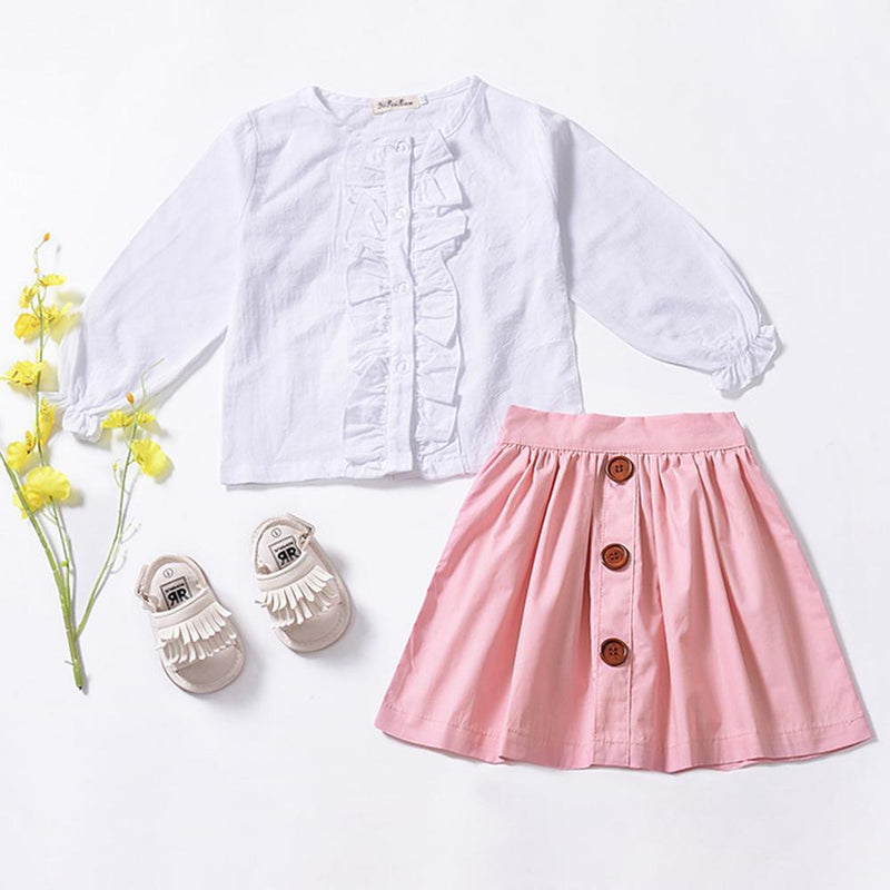 Toddler Girls Long Sleeve Blouse & Skirt Girls Clothes Wholesale