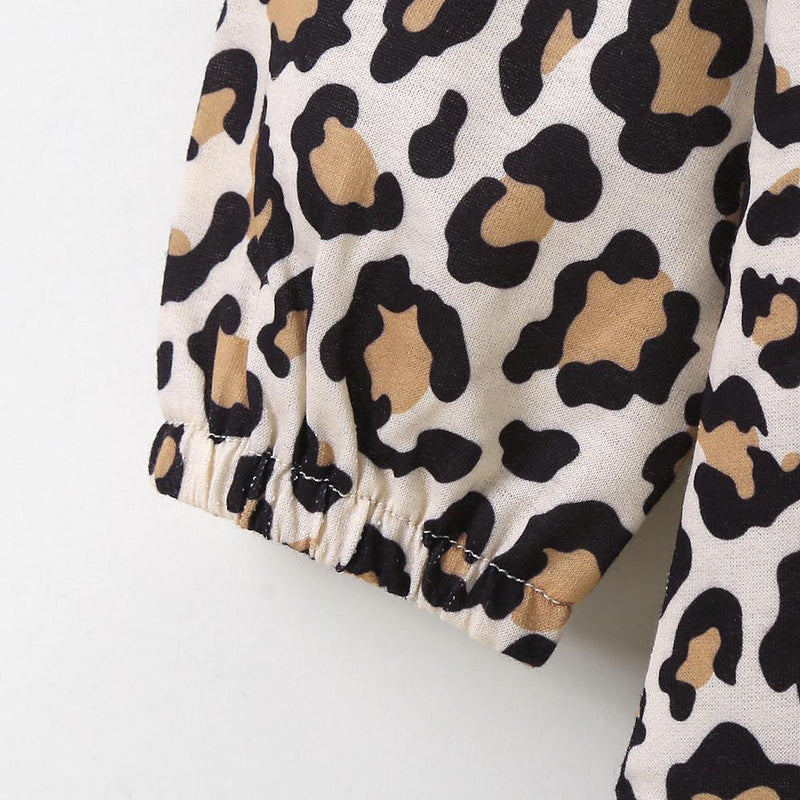 Girls Long Sleeve Bow Decor Leopard Splicing Dress Trendy Toddler clothing Cheap