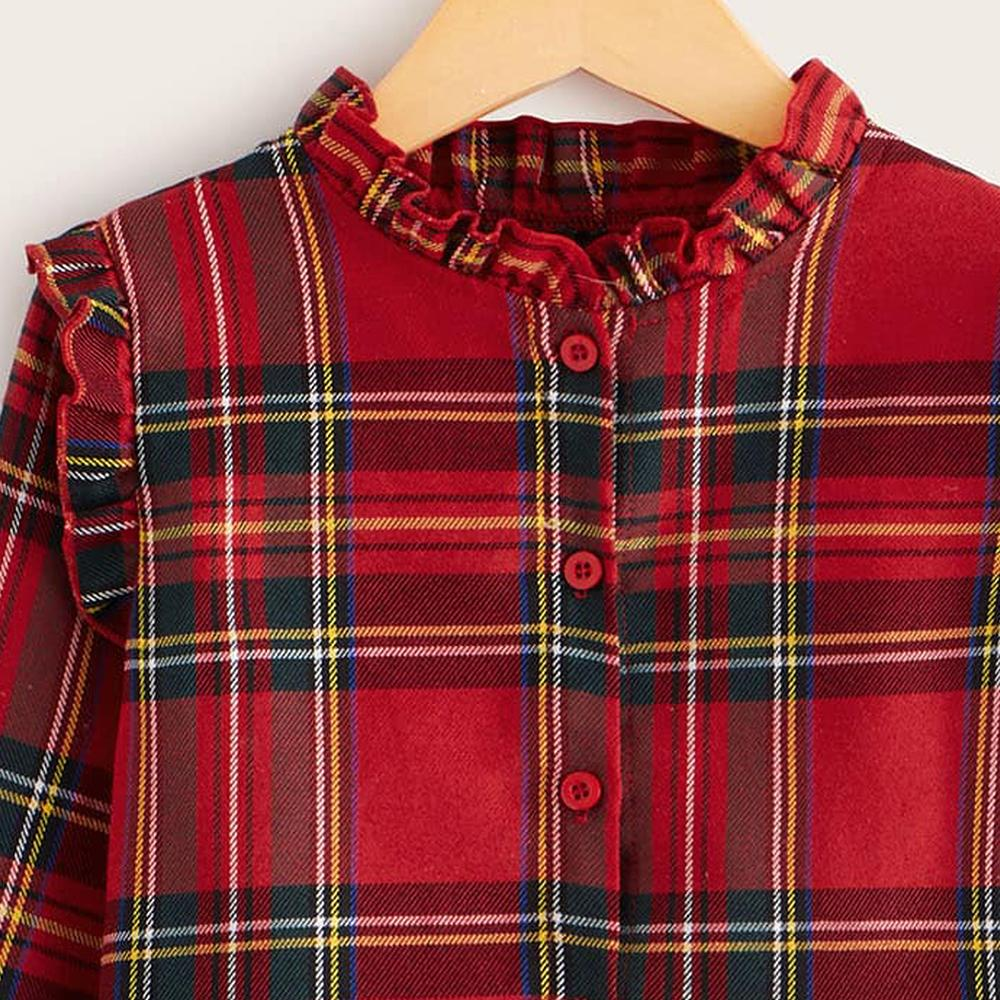 Toddler Girls Long Sleeve Button Plaid Blouse Girl T Shirts Wholesale