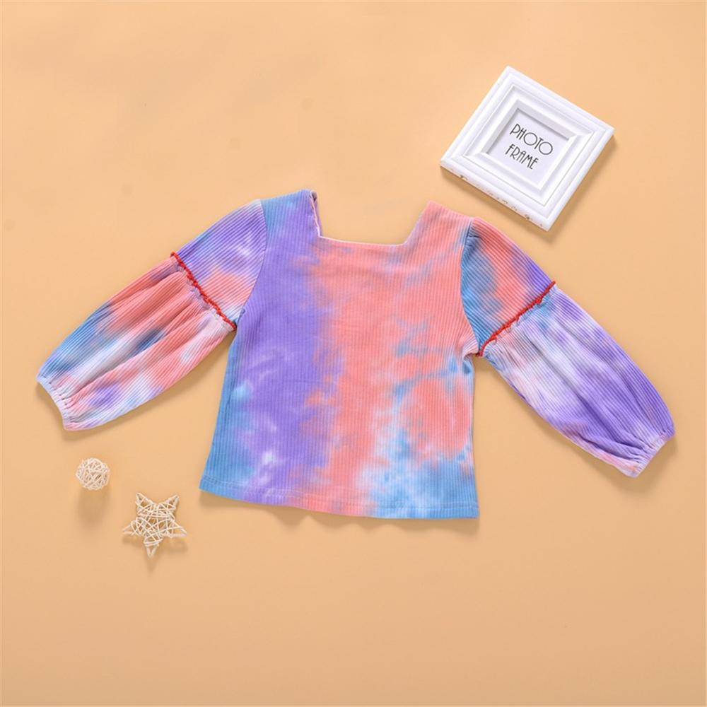 Toddler Girls Long Sleeve Button Tie Dye Top Girl Boutique Clothing Wholesale