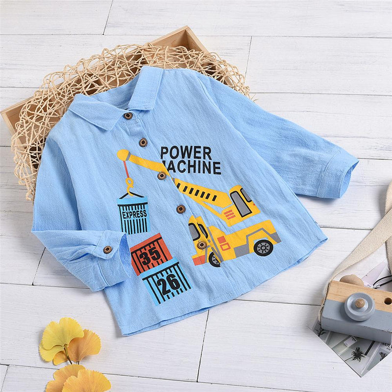 Boys Long Sleeve Cartoon Engineering Vehicle Shirts Baby Boy Boutique Wholesale - PrettyKid