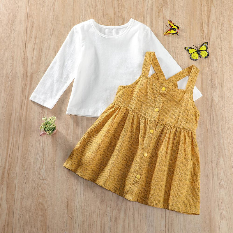 Baby Girls Long Sleeve Casual Top & Suspender Dress Yellow Baby Clothes