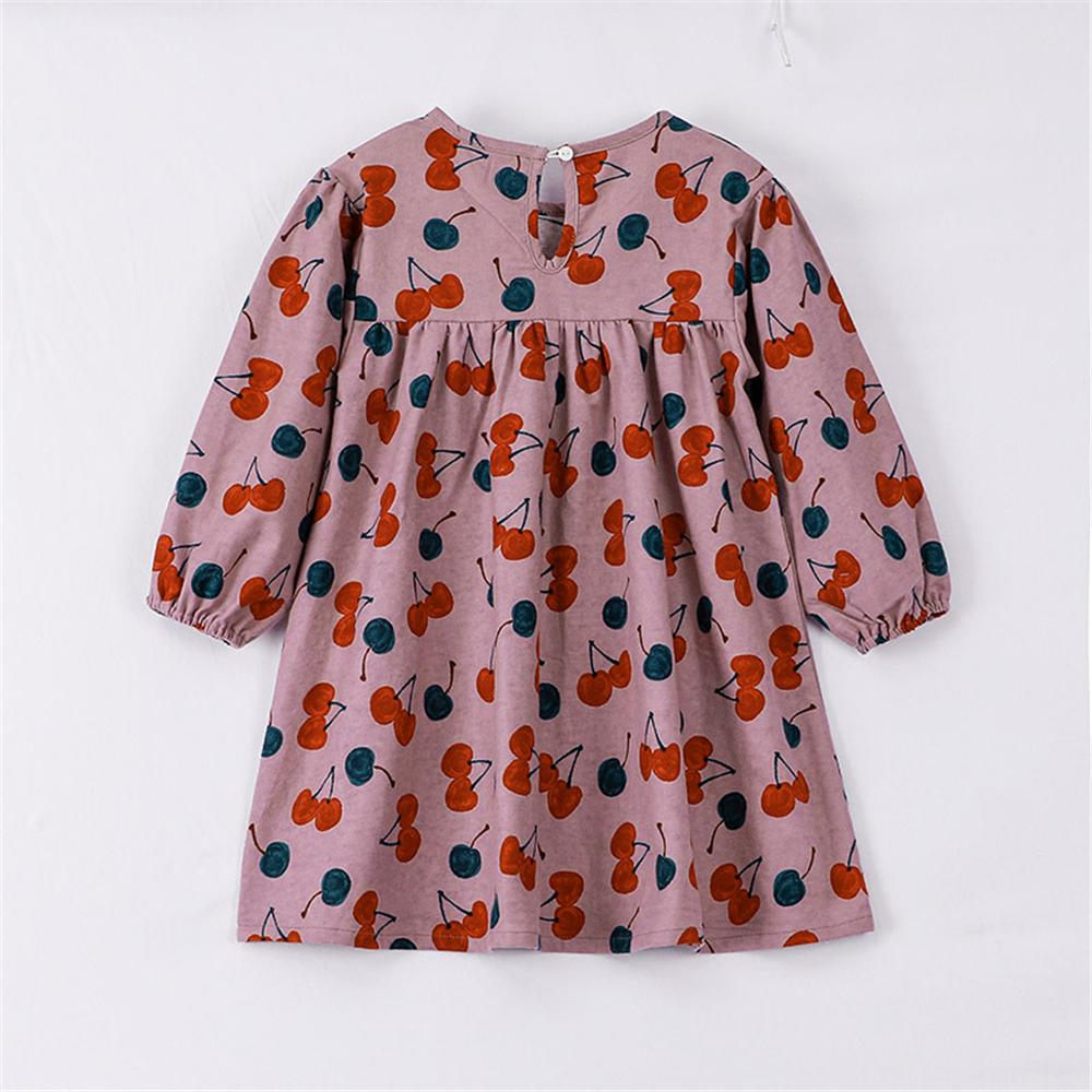 Girls Long Sleeve Cherry Printed Crew Neck Dress Children's Wholesale Boutique Clothing - PrettyKid