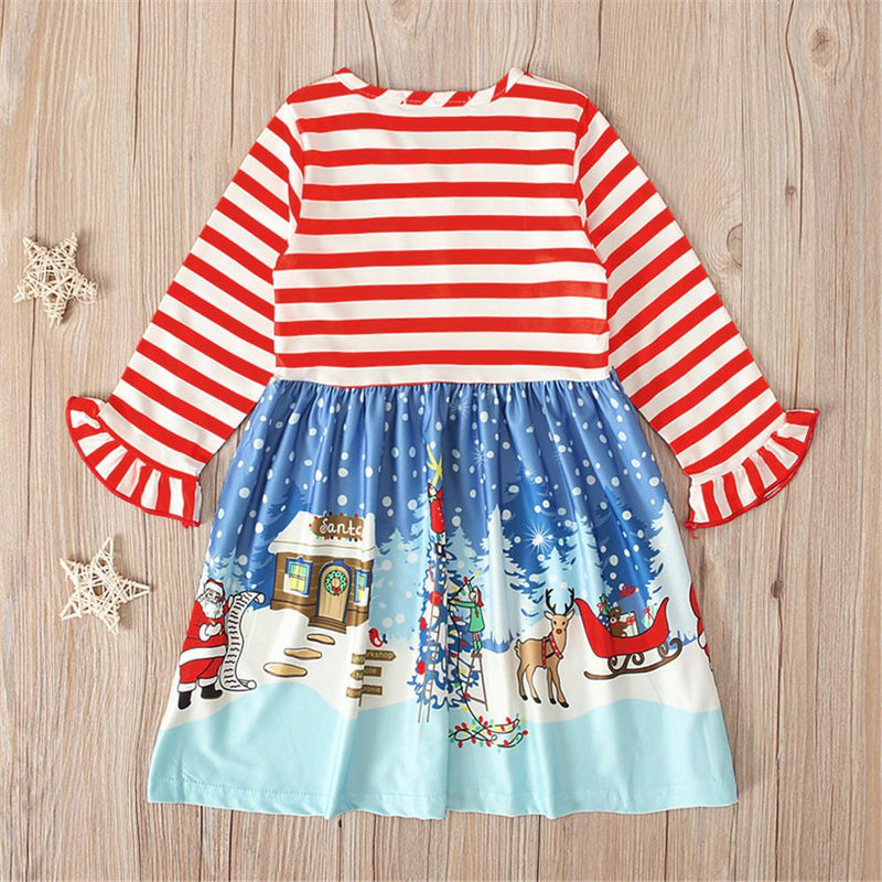 Girls Long Sleeve Christmas Snowman Striped Dress