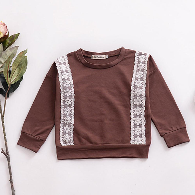 Girls Long Sleeve Crew Neck T-shirt Wholesale Boutique Girl Clothing