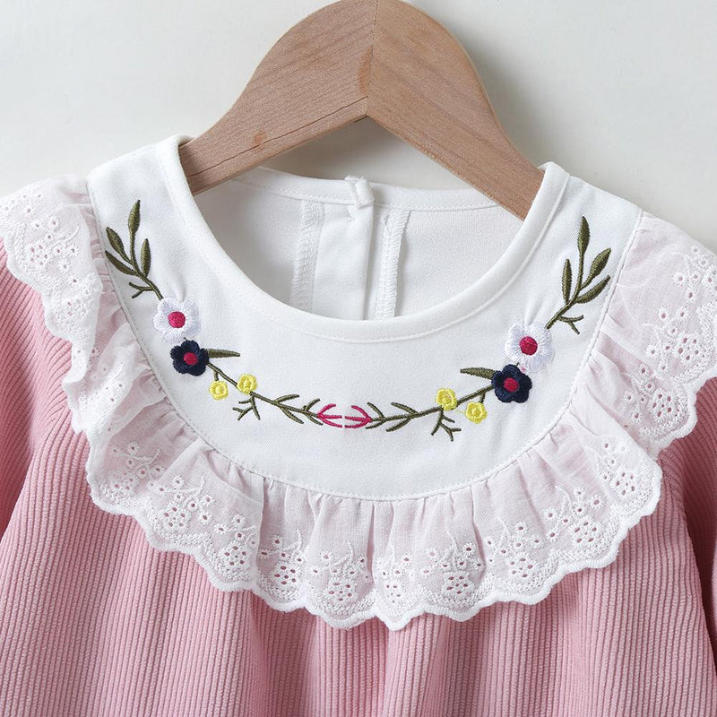 Baby Girls Long Sleeve Embroidered Sweet Dress Baby Clothes Cheap Wholesale