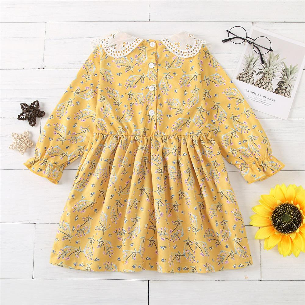 Baby Girls Long Sleeve Floral Autumn Dress Wholesale Baby Clothes