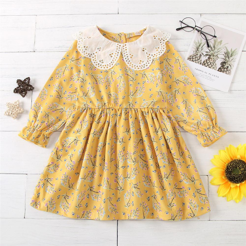 Baby Girls Long Sleeve Floral Autumn Dress Wholesale Baby Clothes - PrettyKid