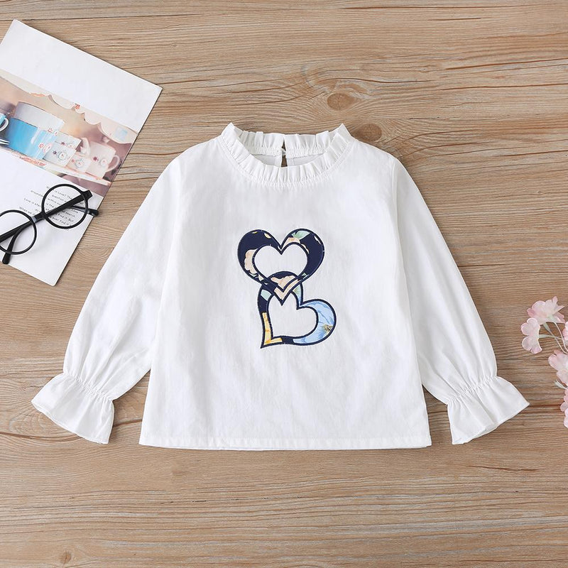 Girls Long Sleeve Heart Printed Top & Floral Bell Trousers Wholesale Little Girl Boutique clothes