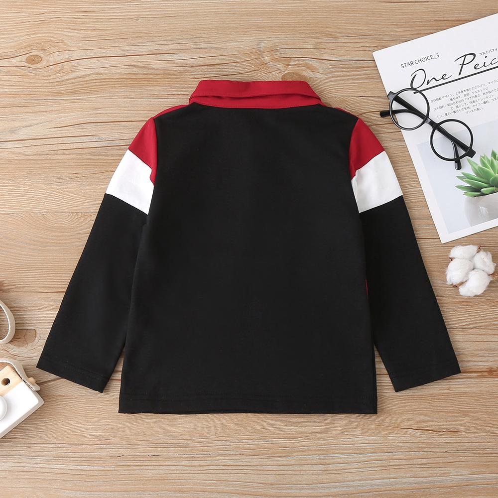 Boys Long Sleeve Lapel Striped Color Block T-shirt Kids Apparel Wholesalers