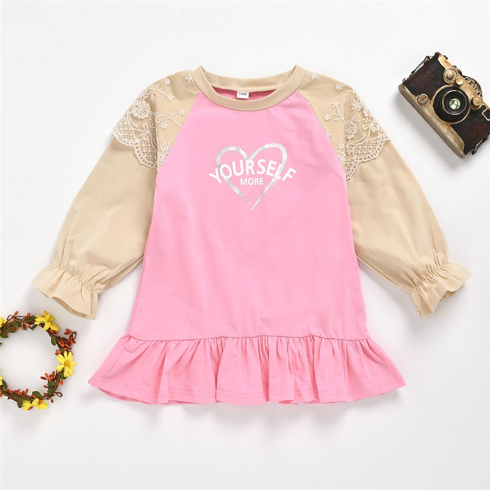 Girls Long Sleeve Letter Heart Printed Tops Girl T Shirts Wholesale - PrettyKid