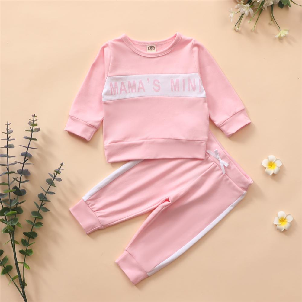 Baby Girls Long Sleeve Letter Printed Tracksuit Wholesale Baby Clothes Suppliers - PrettyKid