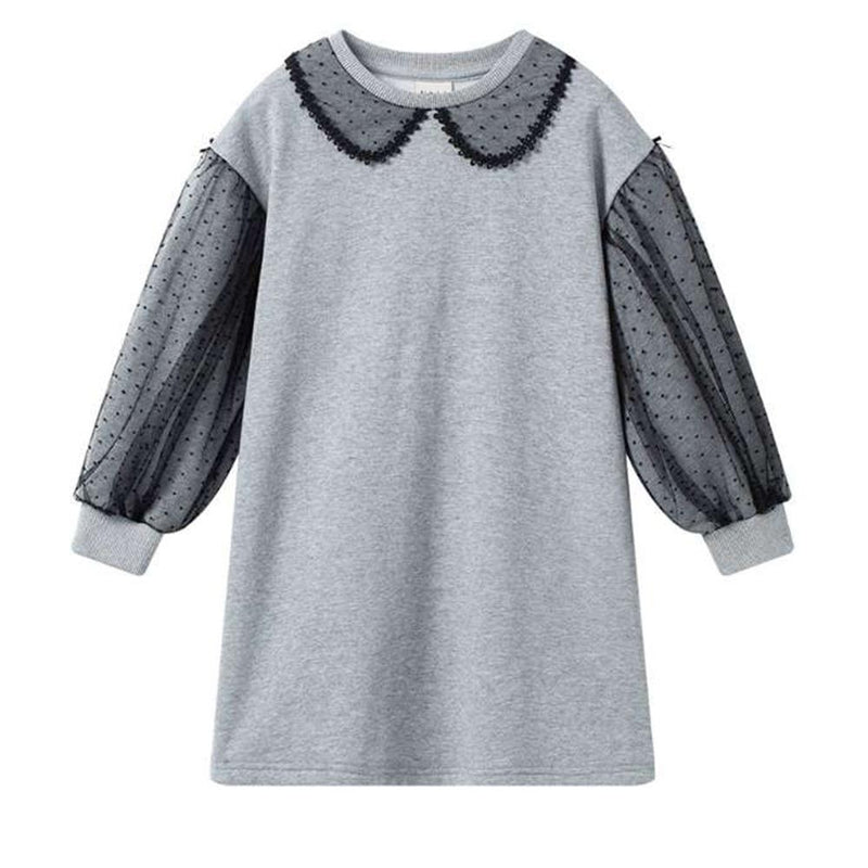 Baby Girls Long Sleeve Mesh Collar Casual Dress Cheap Baby Clothes Wholesalers