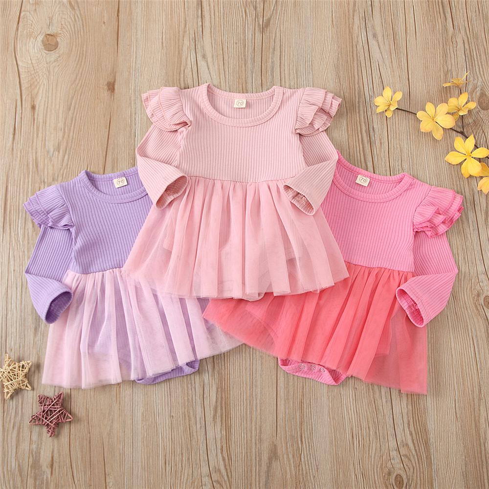 Baby Girls Long Sleeve Onesie Ruffled Mesh Romper Baby Boutique Clothing Wholesale - PrettyKid