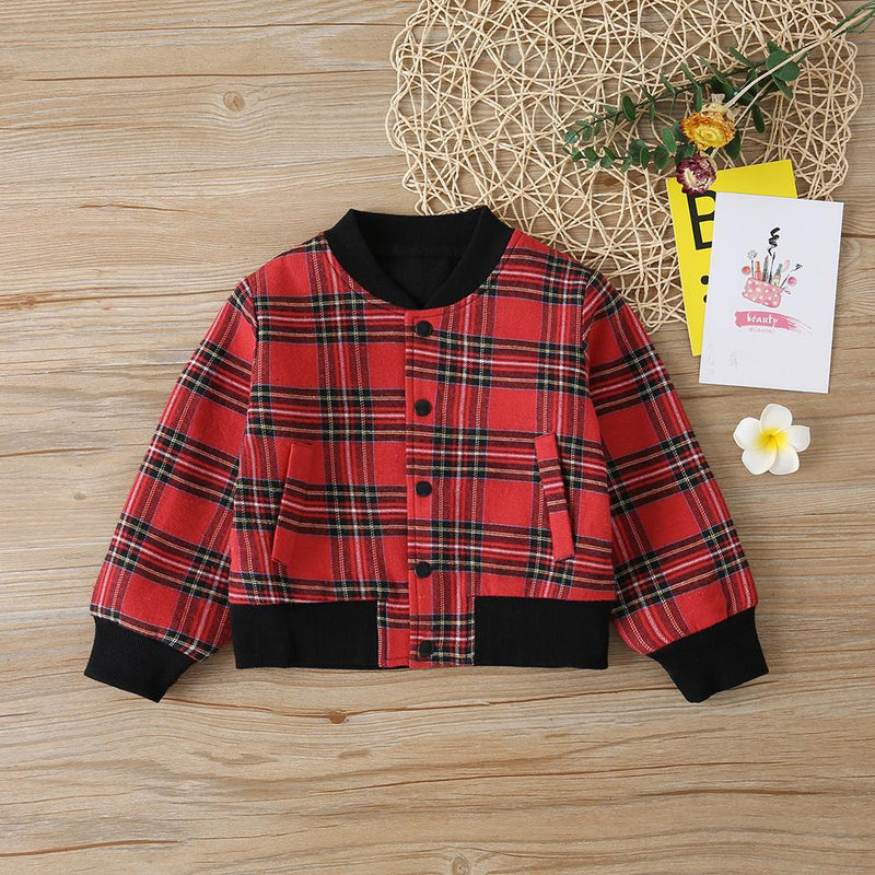 Girls Long Sleeve Plaid Button Jackets Girl Boutique Clothing Wholesale - PrettyKid