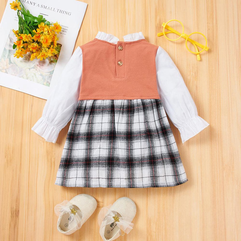 Baby Girls Long Sleeve Plaid Splicing Dress Spanish Baby Clothes Wholesale - PrettyKid