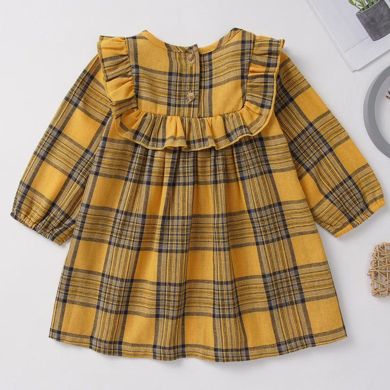 Baby Girls Long Sleeve Plaid Yellow Dress Wholesale Baby Clothes