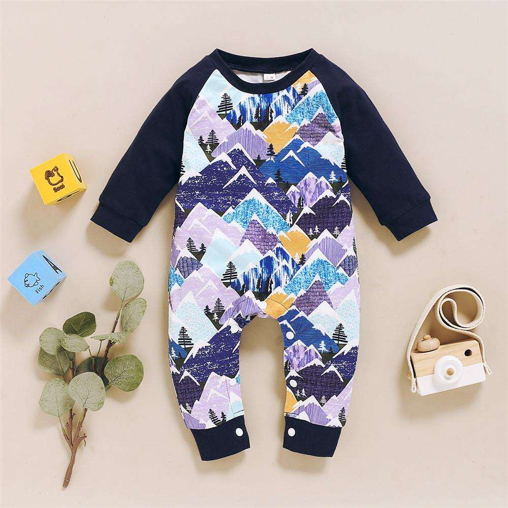 Baby Boys Long Sleeve Printed Romper Baby Clothes Cheap Wholesale - PrettyKid