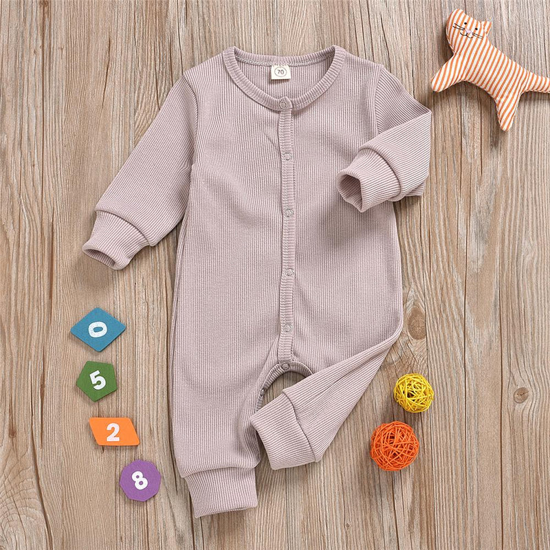Baby Unisex Long Sleeve Solid Color Romper Wholesale Baby Clothes - PrettyKid