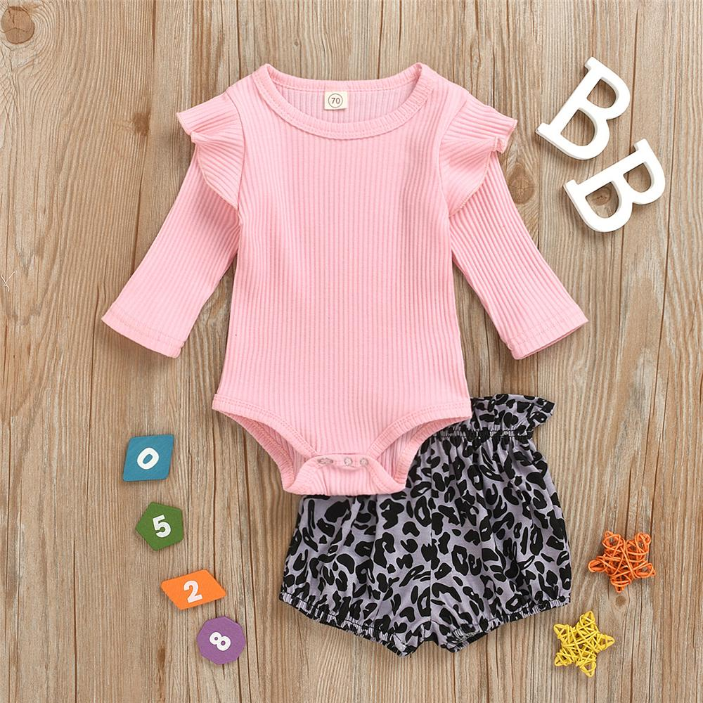 Baby Girls Long Sleeve Solid Romper & Leopard Shorts Wholesale Baby Store - PrettyKid