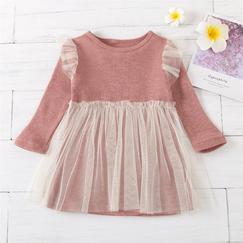 Baby Girls Long Sleeve Splicing Mesh Dress Bulk Baby Clothes For Sale