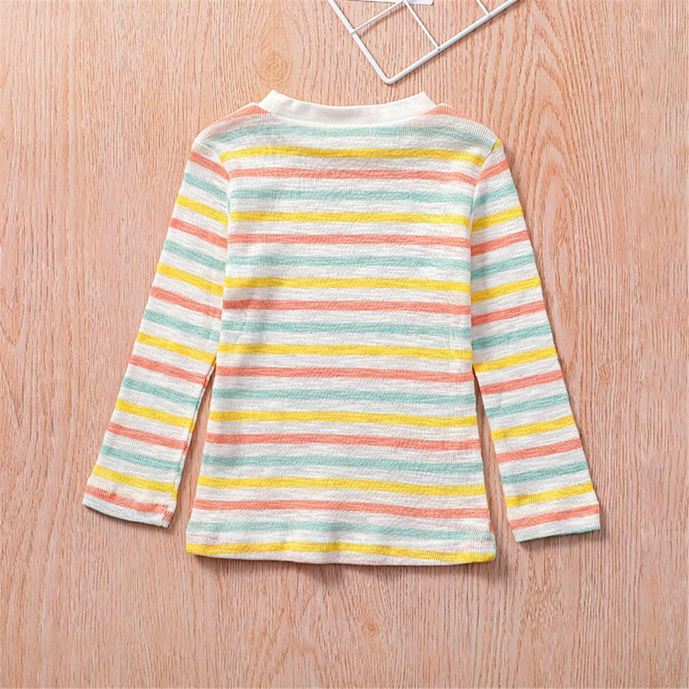 Girls Long Sleeve Striped Crew Neck Tees Girl T Shirts Wholesale - PrettyKid