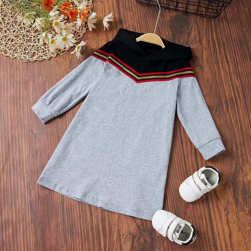 Girls Long Sleeve Striped Hoodie Dress Wholesale Childrens Clothing