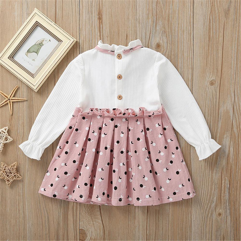 Baby Girl Long Sleeve Sweet Printed Dress
