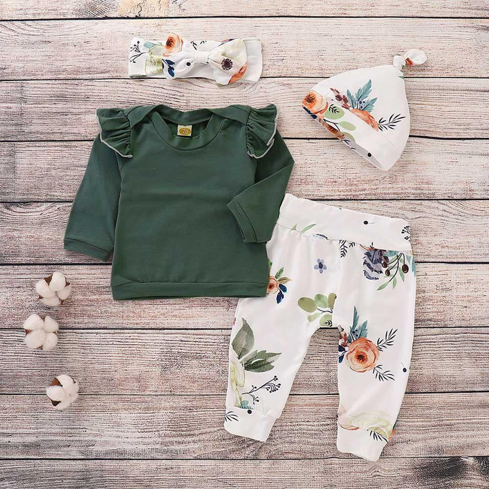 Baby Girls 4-Piece Long Sleeve T-shirt & Floral PantsWholesale Clothing Baby - PrettyKid